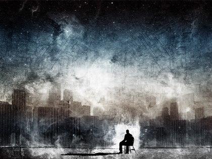 άνθρωπος κοιτάει πόλη